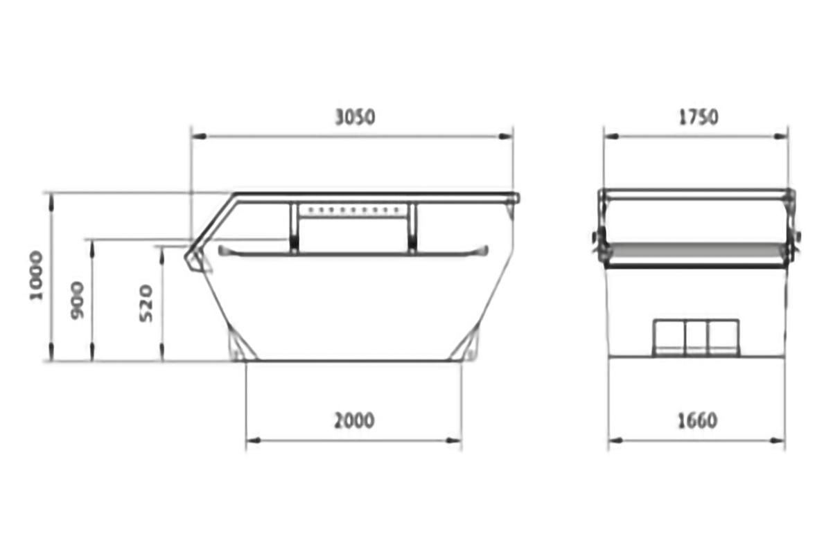 Skizze 5cbm Absetzcontainer offen